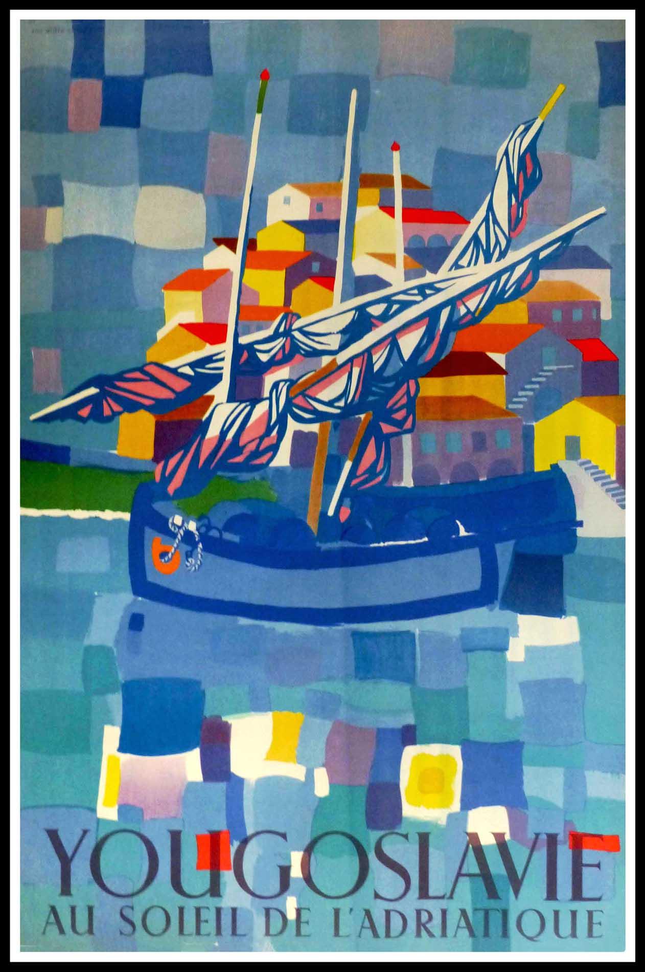 """(alt=""""(affiche ancienne originale de voyage, Yougoslavie, Croatie, au soleil de l'Adriatique signée dans la planche Edo Murtic, 1953, Imprimerie GZH"""")"""