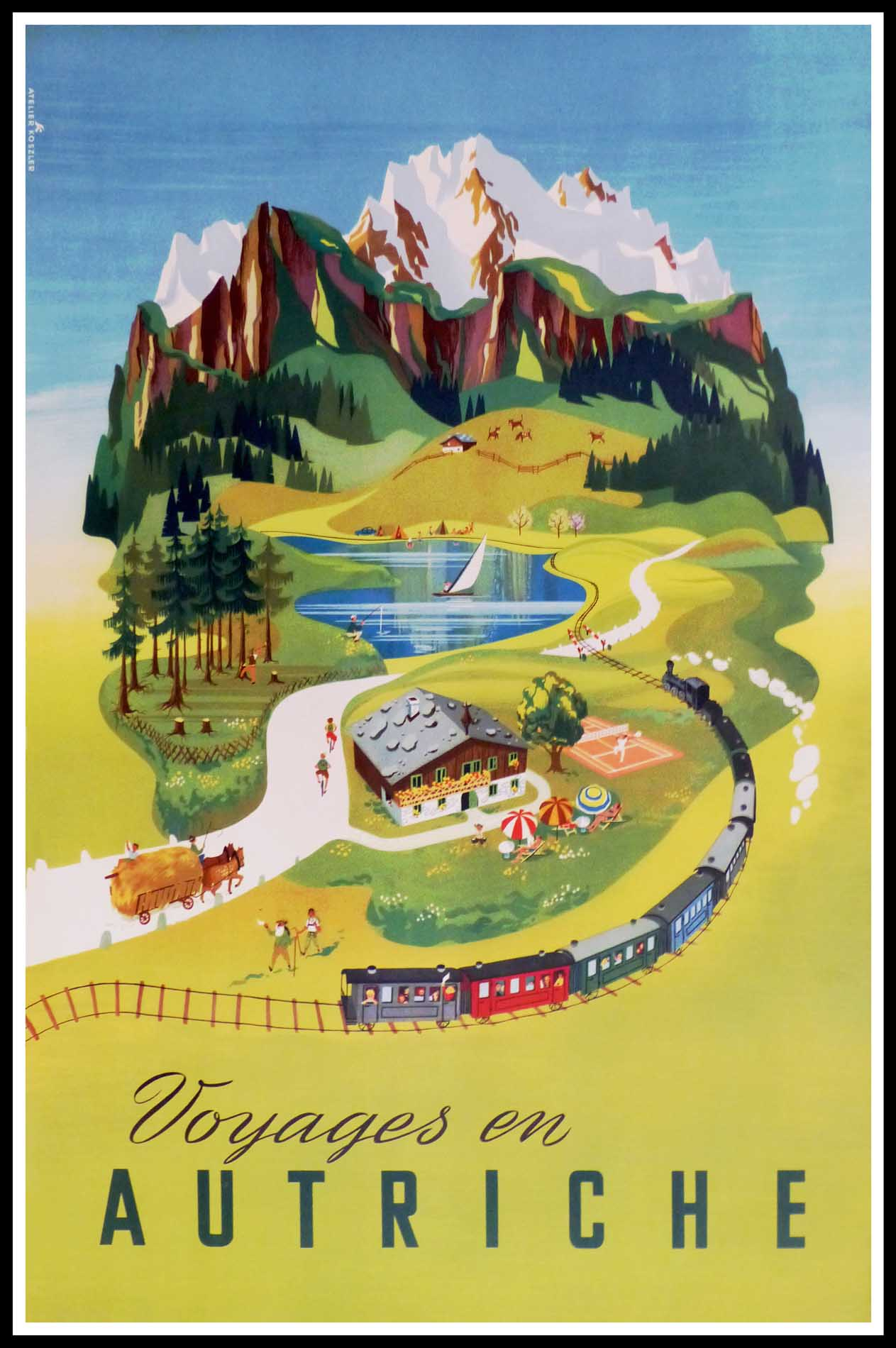 """(alt=""""affiche ancienne originale de voyage, Voyages en Autriche, signée dans la planche Atelier KOSZLER, Imprimerie Wien Autriche, circa 1950"""")"""