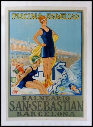 "(alt-""Affiche ancienne originale de voyage - ESPAGNE - Piscina familia balneario San Sebastian Barcelona - Anonyme circa 1950"")"