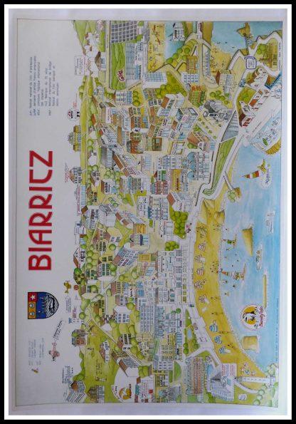 """(alt=""""original vintage travel poster, Biarritz, Frances Truffier, 1992, printed by Pub. Cité Royan"""")"""