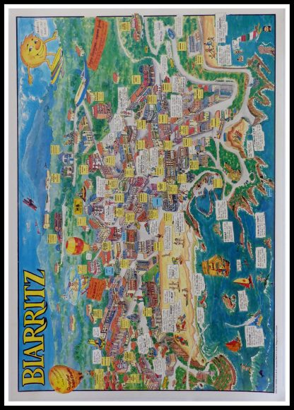 """(alt=""""original vintage french travel poster, BIARRITZ, signed in the HUDIC, printed by PONS 1992"""")"""