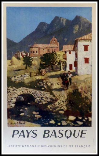 """(alt=""""affiche ancienne originale de voyage, SNCF, Pays Basque, Roland OUDOT, 1951, signée dans la planche Imprimerie Perceval, 1951"""")"""