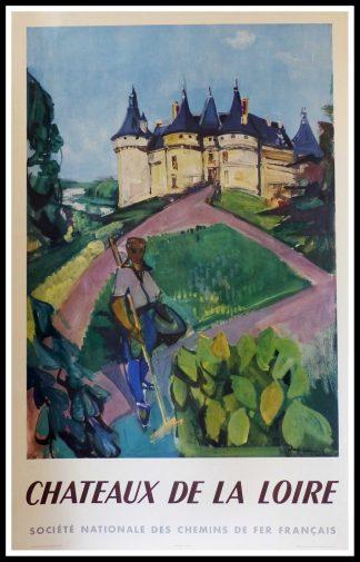 """(alt=""""affiche ancienne originale de voyage, les châteaux de la Loire, signée dans la planche Despierre, Imprimerie Perceval, SNCF, 1953"""")"""
