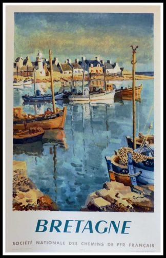 """(alt=""""affiche ancienne originale de voyage, SNCF, Bretagne, signée dans la planche Céria, Imprimerie Draeger, 1953"""")"""