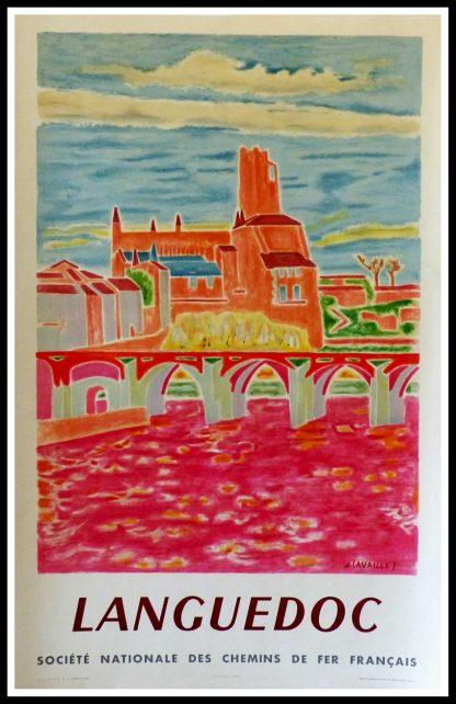 """(alt=""""affiche ancienne originale de voyage, SNCF, Languedoc, signée dans la planche J. CAVAILLES, imprimerie PERCEVAL, 1955"""")"""