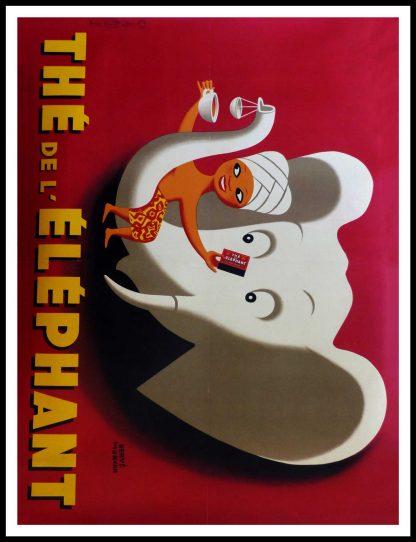 """(alt=""""affiche ancienne originale publicitaire, Thé l'éléphant, signée dans la lithographie Hervé MORVAN, très rare, Imprimerie Ets de la Vasselais, 1952"""")"""