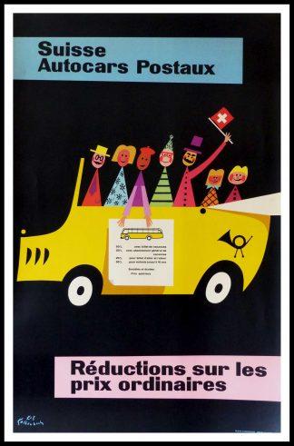 """(alt=""""affiche ancienne originale de voyage, SUISSE, Autocars postaux, K.Z. Kaltenbach, signée dans la planche, Imprimée en Suisse 1954"""")"""