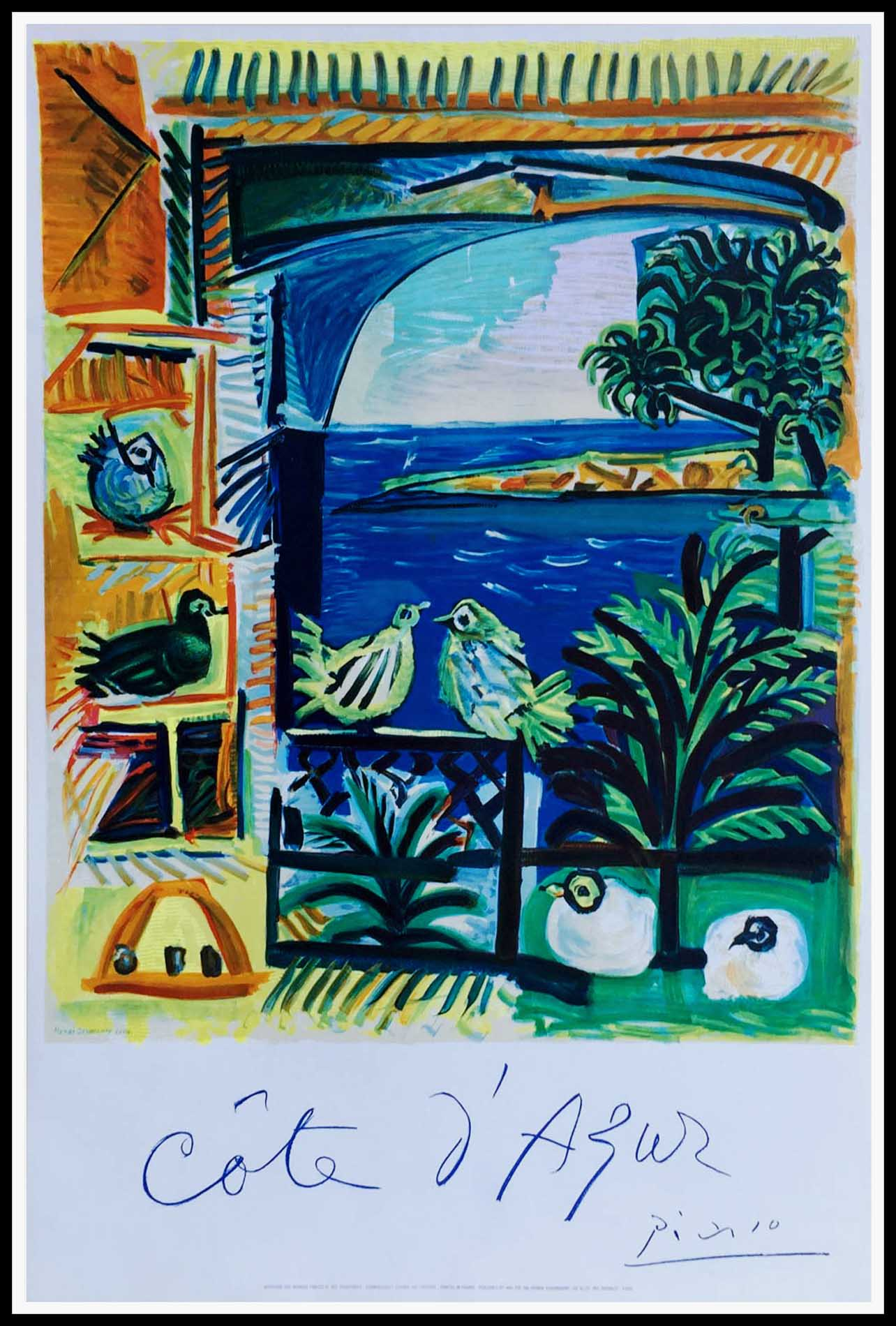 "(alt=""original vintage poster, Côte d'Azur, Saint Tropez, Cannes, Nice, signed in the plate PICASSO printed MOURLOT 1962"")"