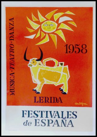 "(alt=""affiche ancienne originale de voyage Musica teatro Danza lerida Festivales de Espana 100 x 62 cm condition B+ LOPEZ VASQUEZ Martin Madrid 1958"")"