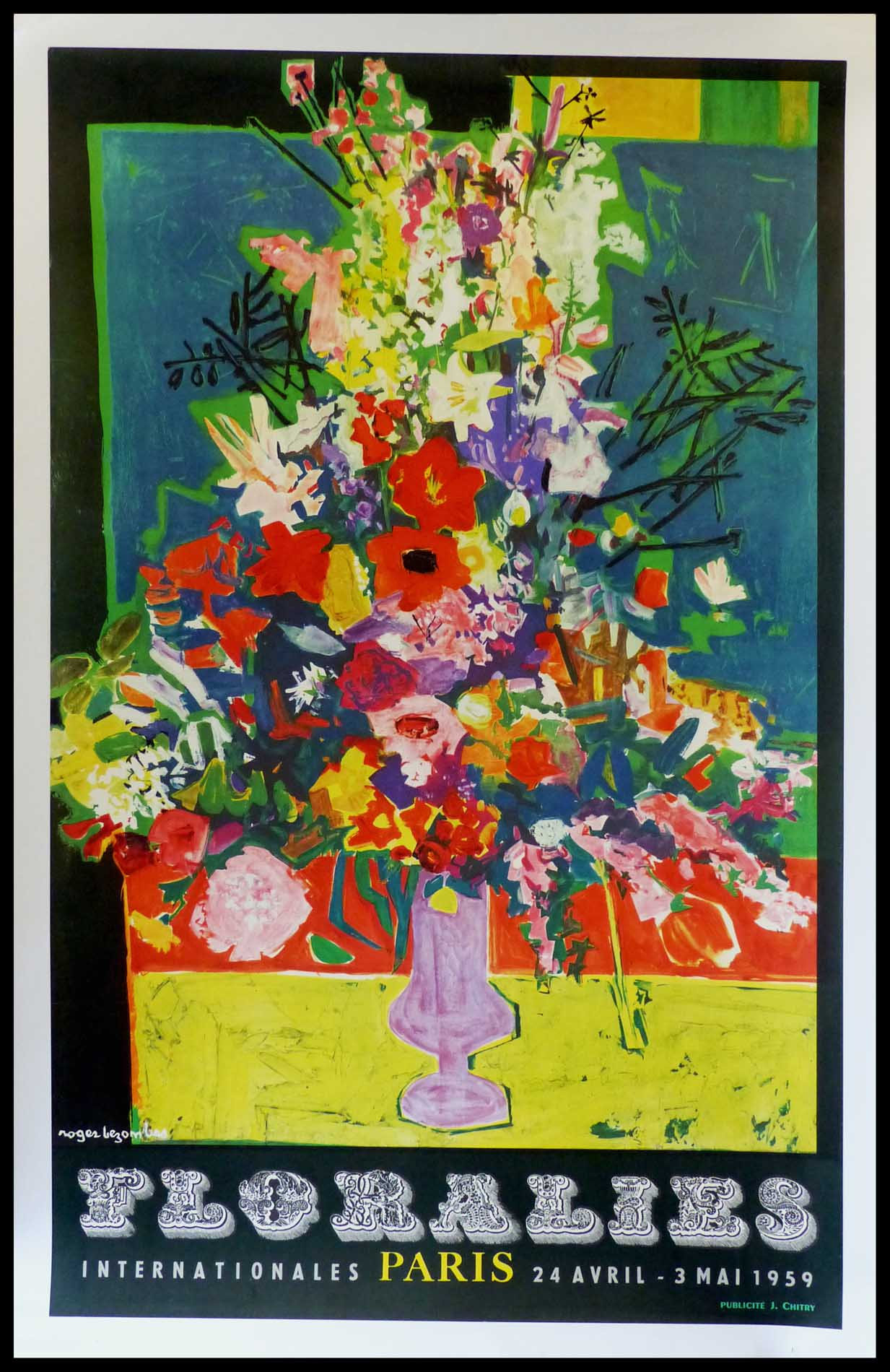 """(alt=""""affiche ancienne originale publicitaire, Floralies internationales Paris, signé dans la planche Roger Bezombes, imprimerie Pub. J Chitry 1959"""")"""