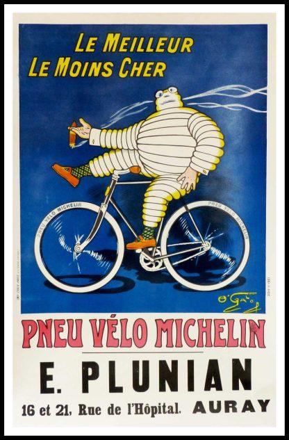 "(alt=""original vintage cycles poster, le meilleur, le moins cher, pneu vélo MICHELIN signed in the plate O'GALOP printed by Imprimerie CHAIX, 1912"")"