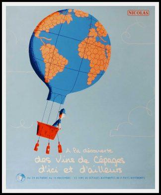 "(alt=""original vintage wine poster, A LA DECOUVERTE DES VINS DE CEPAGE NICOLAS 95 x 80 cm OFF LINEN Condition A+ circa 1990 After MARTIN printed by PROXIMITY"")"