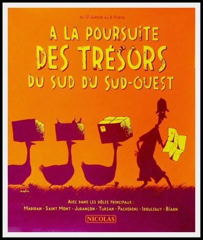 """(alt=""""original vintage wine poster,A LA POURSUITE DES TRESORS DU SUD-OUEST NICOLAS 95 x 80 cm OFF LINEN Condition A+ circa 1990 After MARTIN printed by PROXIMITY"""")"""