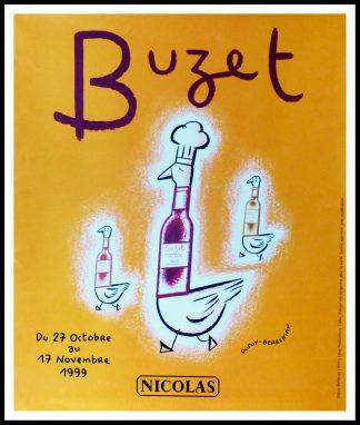 "(alt=""original vintage poster, wine NICOLAS - Buzet, signed in the plate DUPUY-BERBERIAN circa 1990"")"