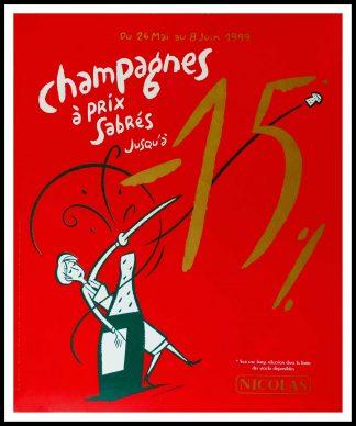 """(alt=""""affiche ancienne originale Vin NICOLAS, CHAMPAGNE A PRIX SABRES NICOLAS 95 x 80 cm OFF LINEN Condition A+ circa 1990 DUPUY-BERBERIAN printed by PRIMA LINEA"""")"""