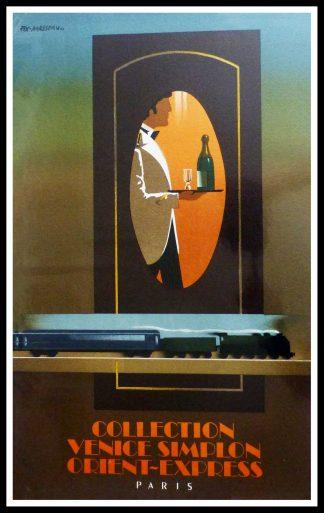 """(alt=""""affiche ancienne originale de voyage, Collection Venice Simplon orient express , signé FIX MASSEAU 1985, Ipa Champigny"""")"""