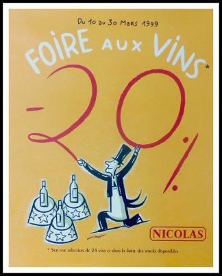 "(alt=""original wine poster NICOLAS, FOIRE AU VIN NICOLAS 95 x 80 cm OFF LINEN Condition A+ circa 1990 DUPUY-BERBERIAN printed by LINEA PRODUCTION"")"