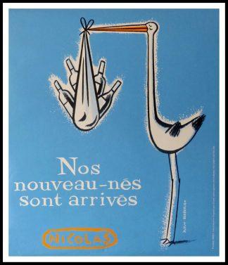 """(alt=""""original wine poster, NOS NOUVEAUX NES NICOLAS 95 x 80 cm OFF LINEN Condition A+ circa 1990 DUPUY-BERBERIAN printed by PROXIMITY BBDO"""")"""
