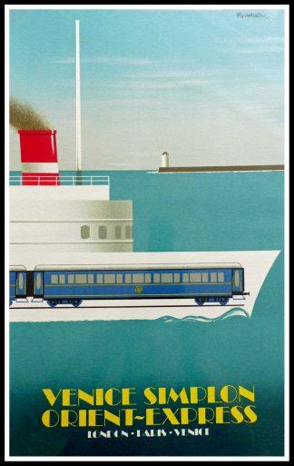 """(alt=""""affiche ancienne originale de voyage, Venice Simplon orient express Milano, signé FIX MASSEAU 1985, Ipa Champigny"""")"""