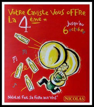 "(alt=""original vintage wine poster, VOTRE CAVISTE NICOLAS size 91 x 80 cm condition A+ OFF LINEN circa 1990 DUPUY-BEBERIAN printed by PRIMA LINEA"")"