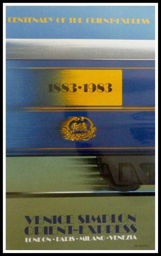 """(alt=""""affiche ancienne originale de voyage, Venice Simplon orient express Paris Milano Venezia, signé FIX MASSEAU 1985, Ipa Champigny"""