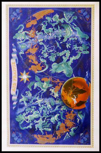 """(alt=""""Affiche originale Air France Zodiaque Nuit des constellations size 109.2 x72 cm Lucien Boucher Imprimerie Perceval 1946"""")"""