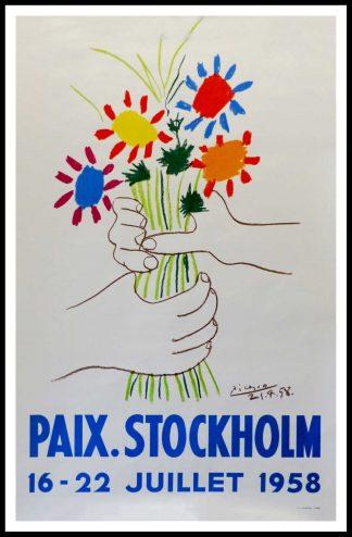 """(alt=""""affiche ancienne originale Mourlot, Pablo PICASSO, PAIX STOCKHOLM 78 x 50 cm Pablo PICASSO 16-22 juillet 1956"""")"""