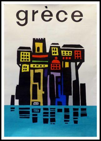 """(alt=""""affiche originale GRECE Size 100 x 62 cm condition A+ printed by Coulognes Maucoulis circa 1950"""")"""