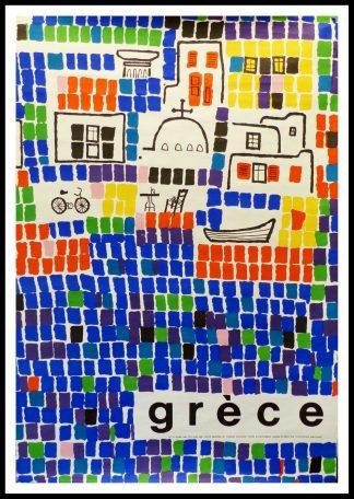 """(alt=""""affiche originale GRECE size 100 x 62 cm condition A+ Katzoubakis circa 1950 printed by Coulognes Maucoulis"""")"""